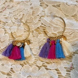 Jewelry - 🆕 Gold and Multicolor Tassel Hoops💞